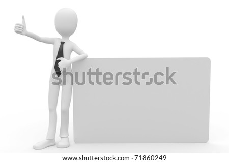3d man with blank billboard isolated on white