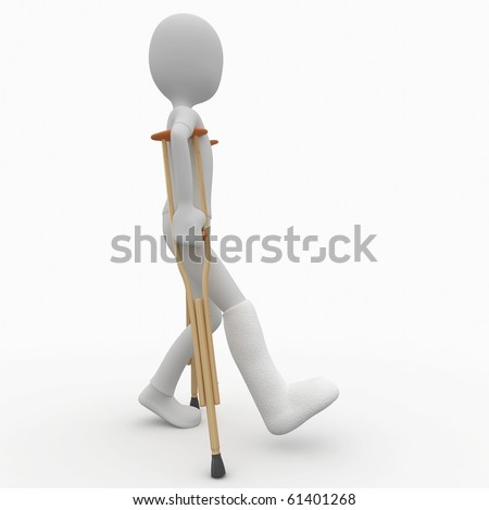 3d man with crutches and broken leg