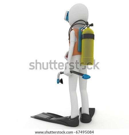 3d man with diving gear isolated on white