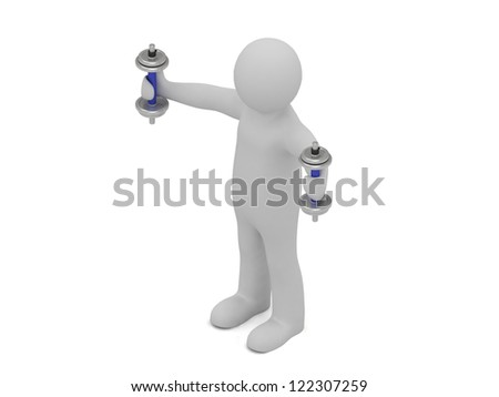 3d man with dumbbells does exercise