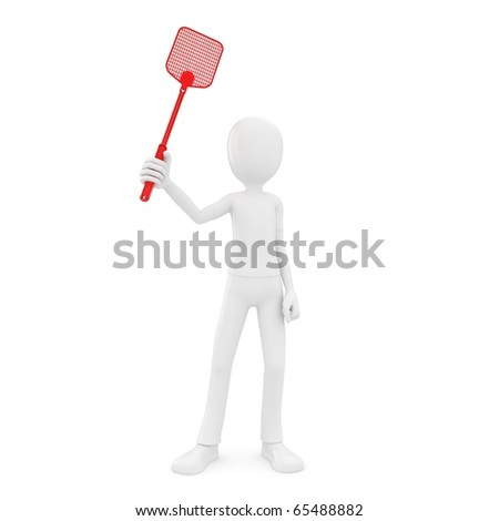 3d man with fly swatter isolated on white