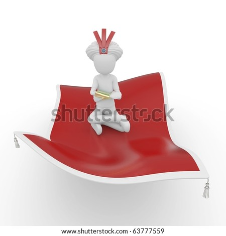 3d man with flying carpet isolated on white