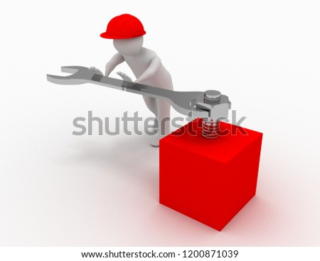 3d man with fork spanner tightening a nut on white background. 3d illustration