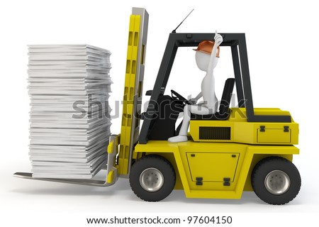 3d man with forklift carrying stuff on white background - stock photo
