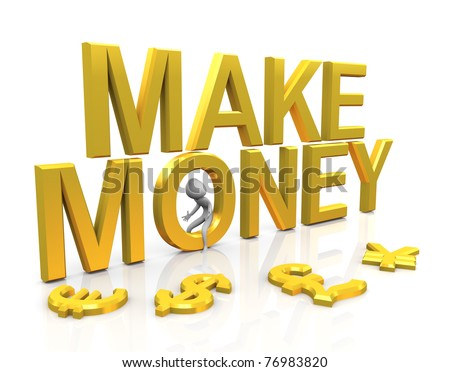 3d man with golden make money text and currencies symbols