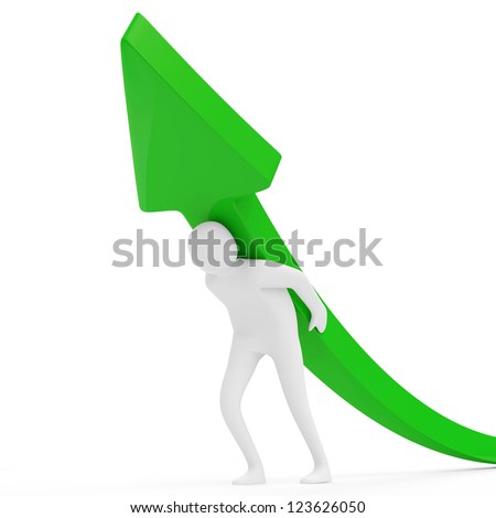 3d Man with Green Arrow on white background