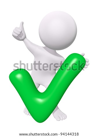 3d man with green check mark