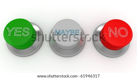 3d man with green, red and gray buttons yes no maybe