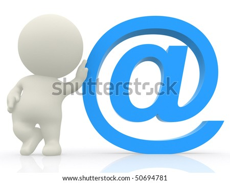 3D man with hand on at sign isolated over white