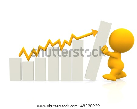3D man with hand on graph gradient isolated over a white background - stock photo