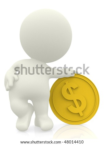 3D man with hand on top of a golden coin isolated over white