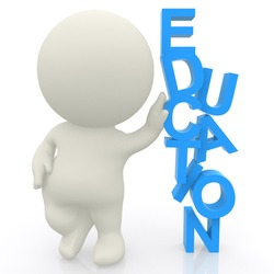 3D man with hand on word Education isolated over a white background