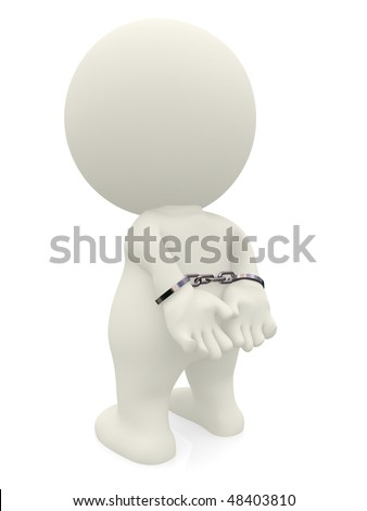 3D man with handcuffs isolated over a white background