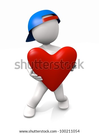 3d man with heart gift