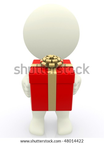 3D man with holding a gift box isolated over white