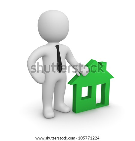 3d man with house emblem - stock photo
