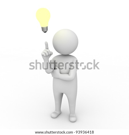 3d man with idea lightbulb on white background