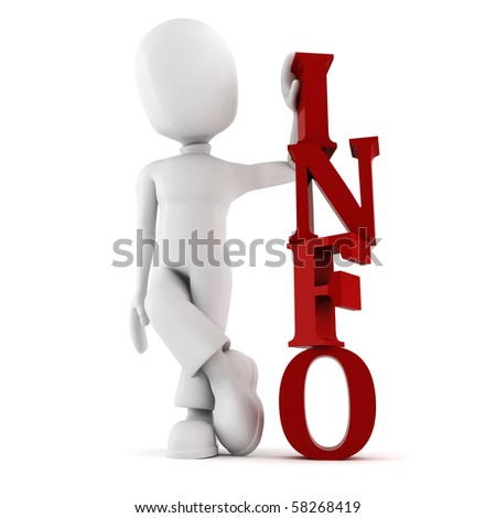 3d man, with information text, on white background