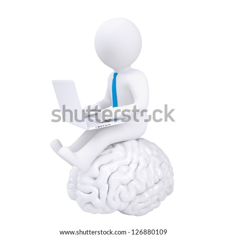 3d man with laptop sitting on the brain. Isolated render on a white background