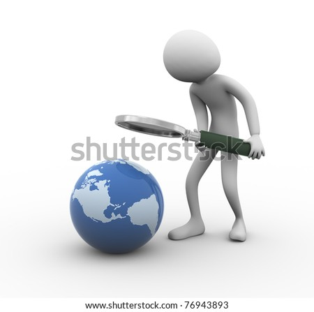 3d man with magnifying glass searching globe