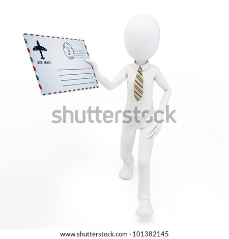 3d man with mail envelope on white background