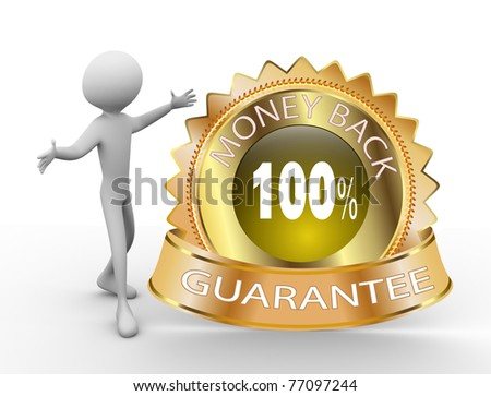 3d man with 100% money back guarantee golden icon