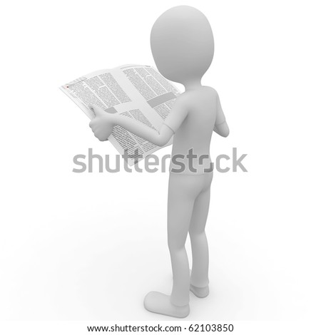 3d man with newspaper isolated on white