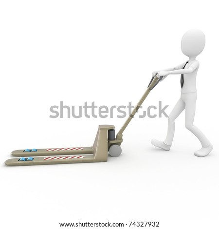 3d man with pallet truck isolated on white