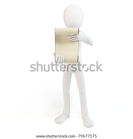 3d man with papyrus  isolated on white