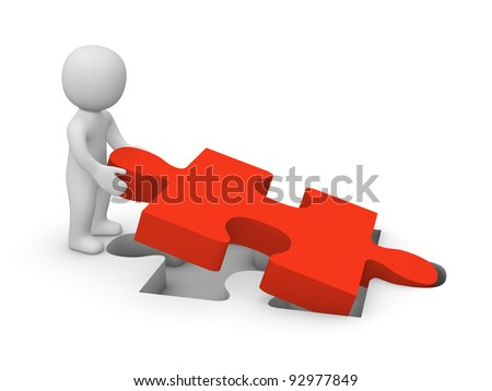 3d man with puzzle piece