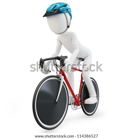 3d man with race bike on white background - stock photo