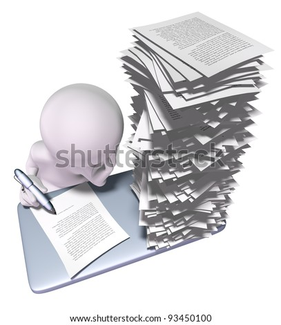 3d man with stack of papers on his desk