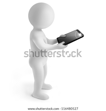 3d man with tablet on white background