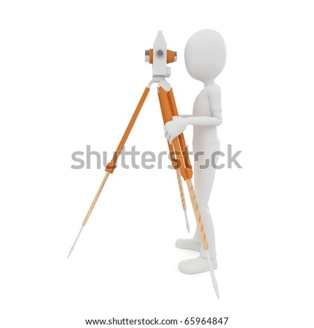 3d man with theodolite measuring isolated on white