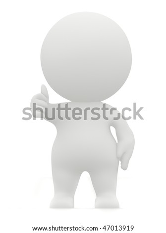 3D man with thumbs-up isolate over a white background