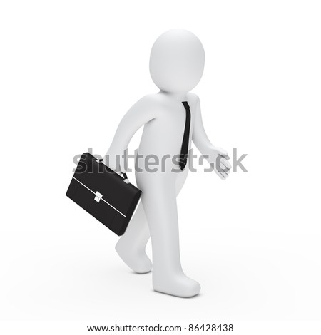 3d man with tie and briefcase run