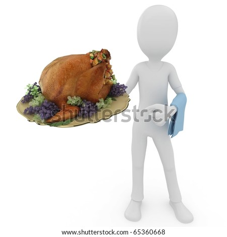 3d man with turkey plate isolated on white