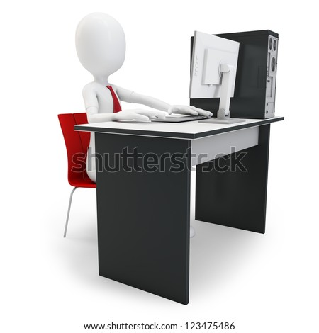 3d man working at computer on white background stock photo
