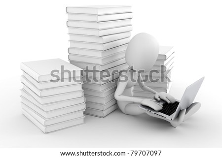 3d man working at his laptop - stock photo