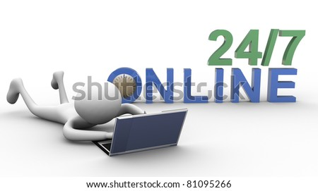3d man working online on laptop