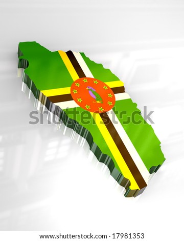 3d map flag of Dominica