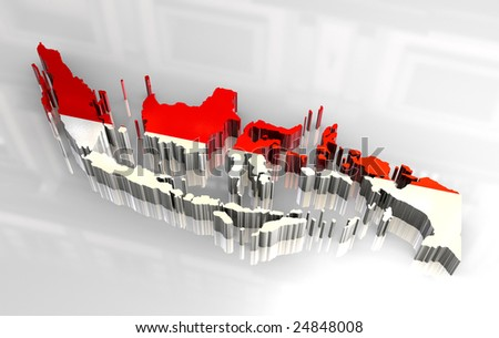 3d map flag of Indonesia
