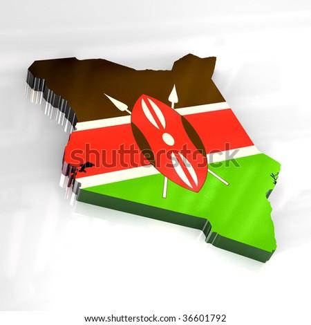 3d map flag of Kenya