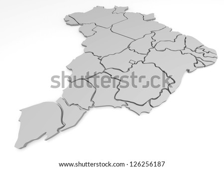 3d map of Brazil, with the separate states, infographic