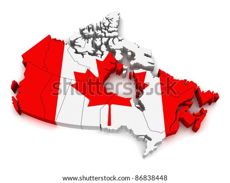 3D Map of Canada - stock photo