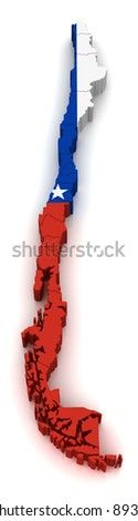 3D Map of Chile - stock photo