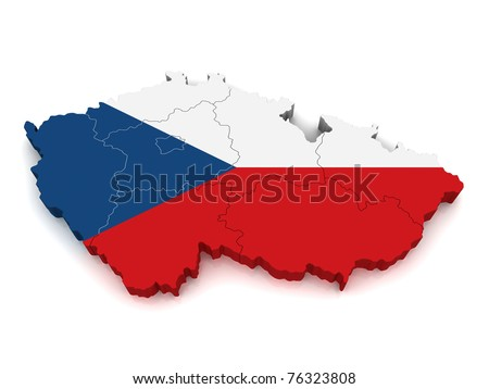 maps of czech republic. stock photo : 3D Map of Czech