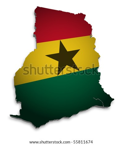 3D Map of Ghana with flag