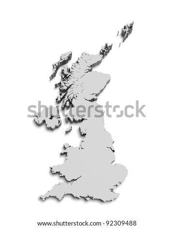3D map of Great Britain on white isolated