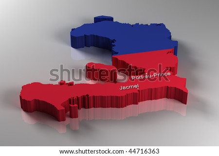 stock photo : 3D Map of Haiti with the two most important cities